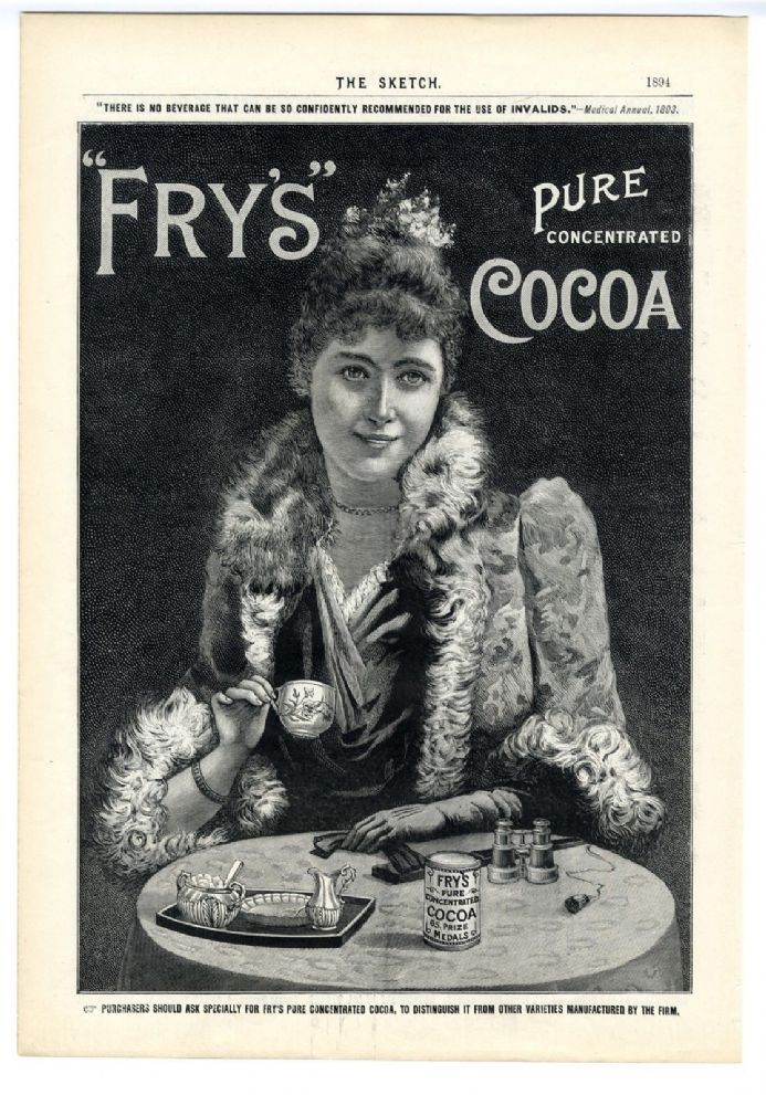 1894 PRINT Fry's Cocoa VICTORIAN ADVERT Robertson Dundee Whisky KILT North Pole